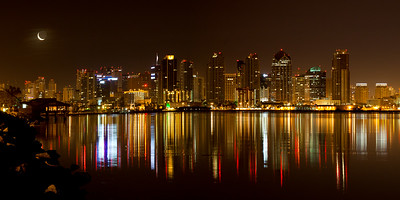 San Diego Skyline at Night from Harbor Island,  Panorama of 3 images, format 2:1