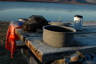 We left out pots out, and they gathered a bit of frost overnight... Forrest let water in his mug and it was pretty much frozen solid. It took a few cups of hot water to get it back so he could have tea.
