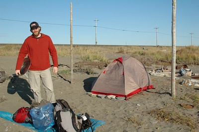 Our first camp on East Beach just beyond town. Forrest has his gold pan and is ready to strike it rich.
