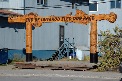 The Iditarod finish line stored off to the side of Front Street.