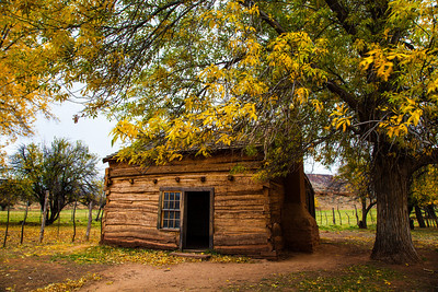 An old log cabin in the ghost town of Grafton Utah.