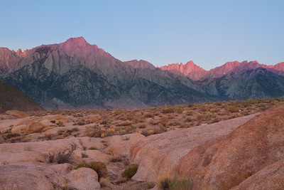 Mt. Whitney & Lone Pine Peak, first light  from the Alabama Hills