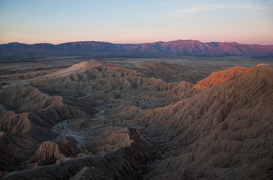 The Badlands of Anza Borrego State Park at sunrise.