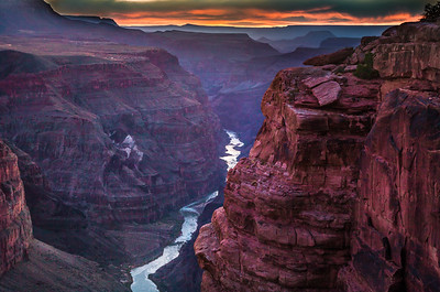 Sunset from the Toroweap overlook of the Grand Canyon & the Colorado River