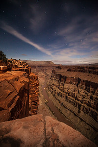 The Grand Canyon & the Colorado River lite by moonlight. Photographed from the Toroweap overlook.