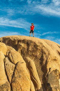 Rock formation and my grandson in Joshua Tree National Park