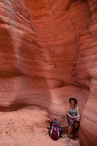 Lorna enjoying a little down time in Canyon X since we were there all day
