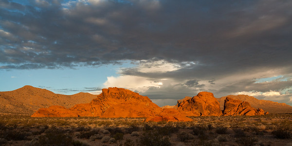 The view at sunrise from our camp site at the Arch Rock campgrounds at the Valley of Fire State Park in Nevada.