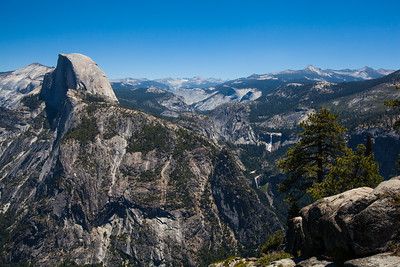 Half Dome, Nevada Falls & Vernal Falls as seen from Glacier Point