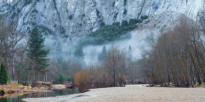 Winter morning by the Merced River. Yosemite National Park