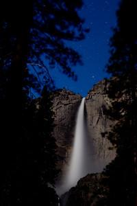 """Waterfall by Moonlight"", Yosemite Falls lit by moonlight, Yosemite National Park"