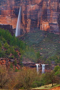 Waterfalls flowing in the Emerald Pools area of Zion Canyon, Zion National Park
