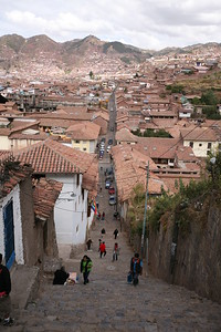 CUSCO, PERU - Street to stairs.