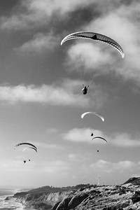 Paragliders over the Pacific Ocean and cliffs, Torrey Pines Glider Port