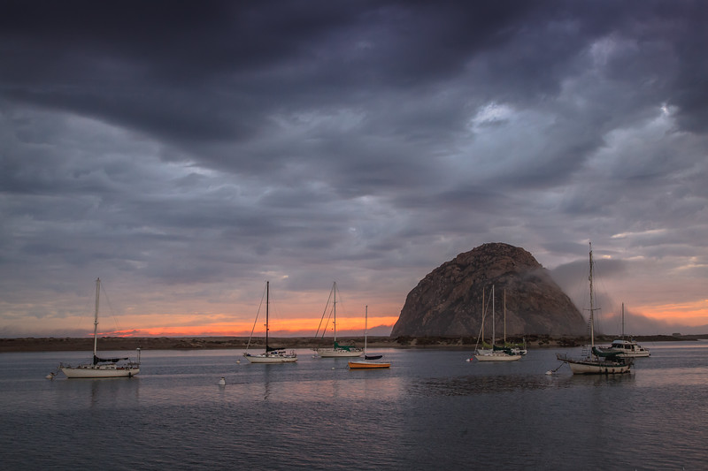 Morro Rock with a cloudy sunset