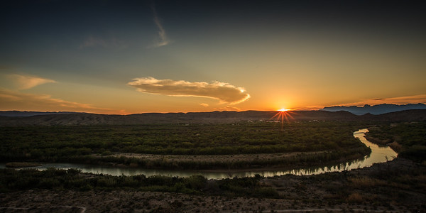 Big Bend National Park, Texas. Rio Grande River at sunset.