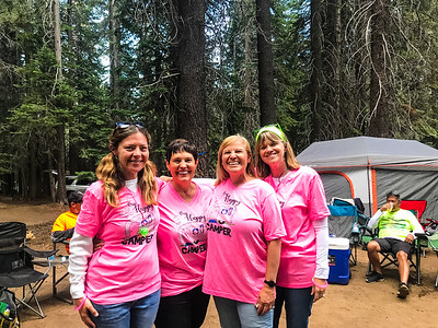 Kim, Lorna, June and Debbie, Neon night at Huntington Lake