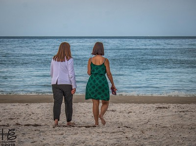 Sisters walking to the beach