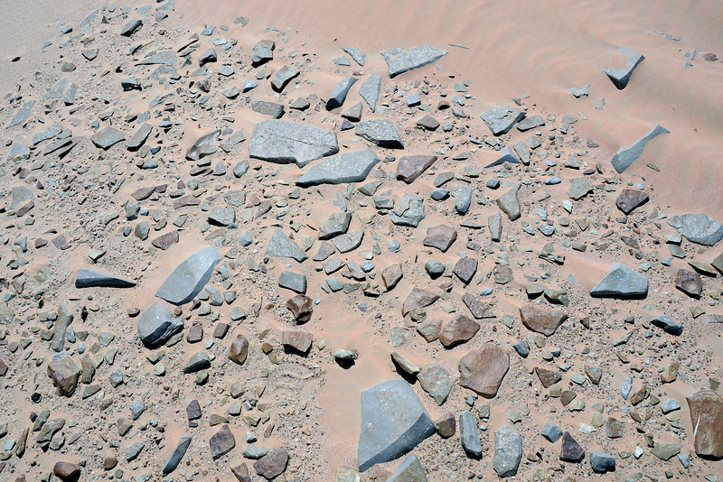 Sand-blasted, ventifacted platy limestone rocks in the Huqf region, Oman