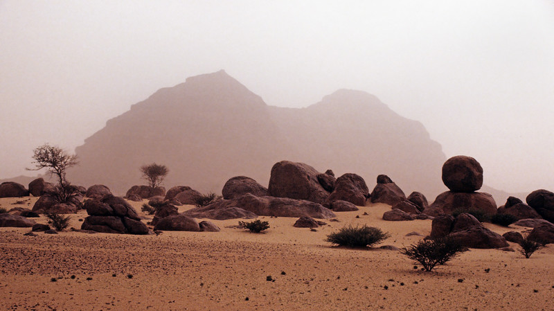 Sandstorm in the Wajid rock desert of southwest Saudi Arabia