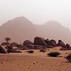 Sandstorm in the Wajid rock desert of southwest Saudi Arabia
