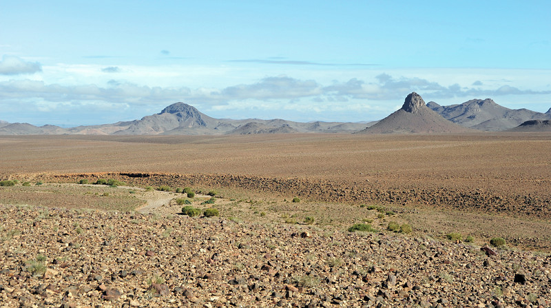 Rocky alluvial plain in the Anti-Atlas mountain chain near Agdz, Morocco