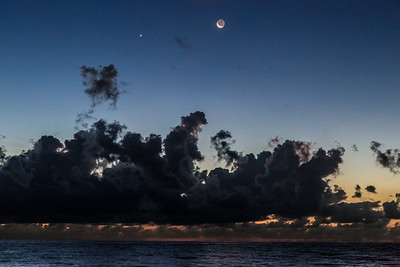 Crescent Moon and Ocean Storm