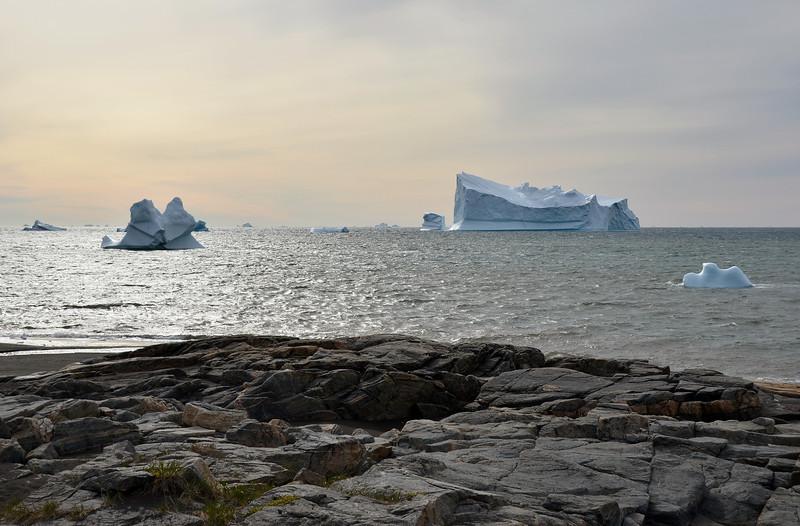 Hazy morning along the south coast of Disko Island, west Greenland