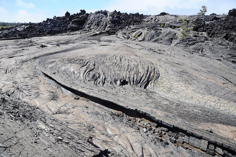 Recent pahoihoi ('ropy') lava flow on Big Island, Hawaii
