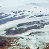 Giant glaciers flowing from inland icecap to the sea near Narsarsuaq, southwest Greenland