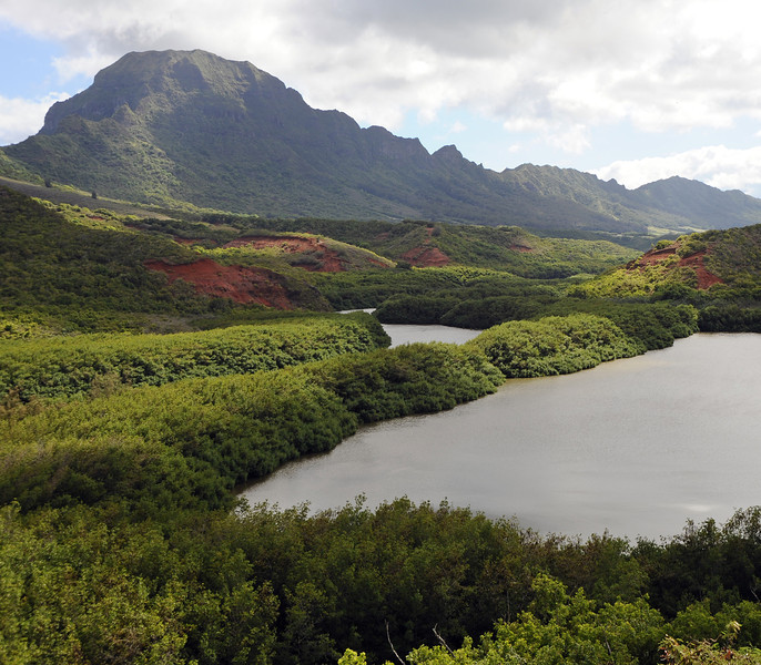 Menehune fishpond, Huleia river and Ha'upu volcanic ridge on Kaua'i, Hawaii