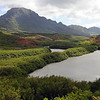 Menehune fishpond, Huleia river and Ha'upu volcanic ridge on Kaua'i, Hawaii