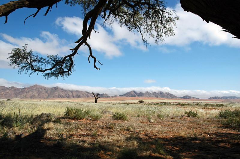 Dissipating fog over narrow mountain range, Namibia
