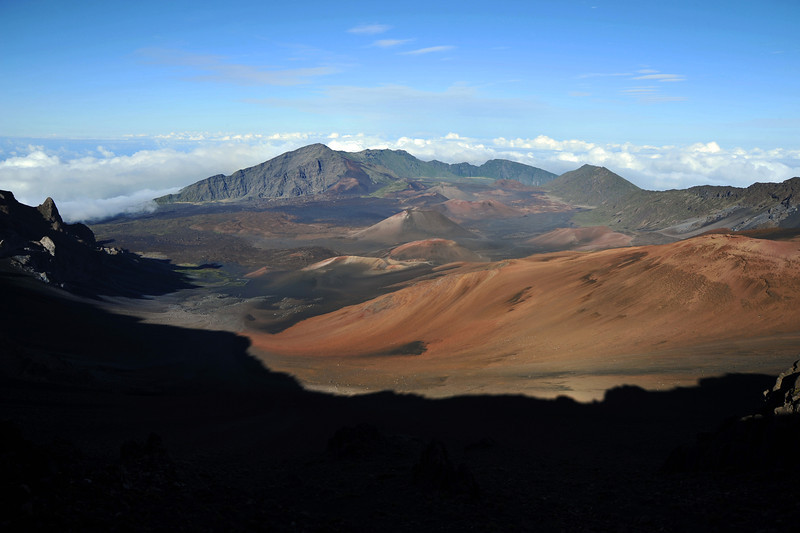 Late afternoon light on the Haleakala volcanic crater on Maui, Hawaii