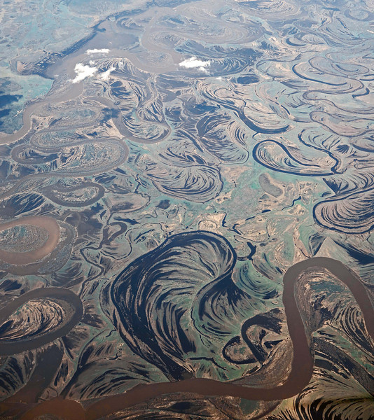 Belt of meandering rivers in west Siberia, Russia
