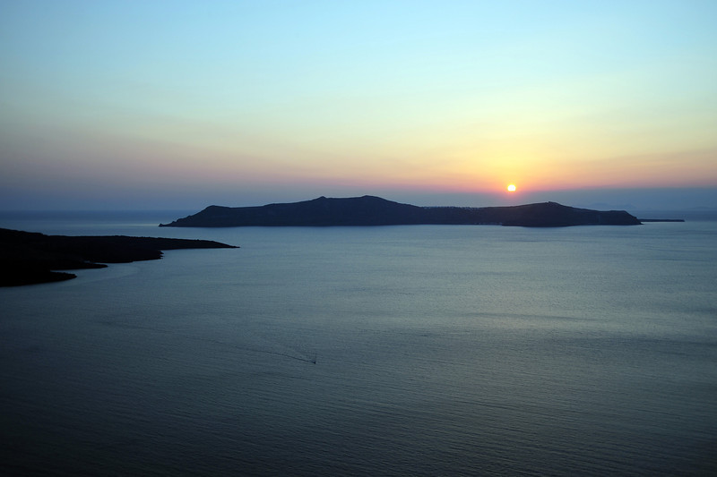 Sunset over the Santorini caldera, Greece