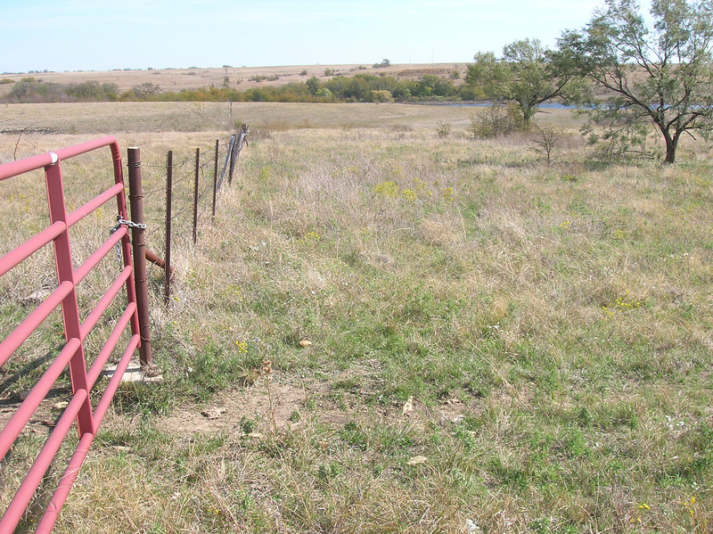 View east along boundary between the Barnett CE-2 conservation easement with Connemara and the NRCS permanently-protected prairie under their Grasslands Reserve Program (GRP) easement.  NRCS GRP easement lands located to the left of fenceline.