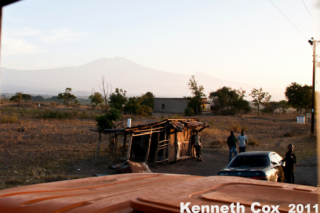 Early morning in Tanzania- our first sighting of Kilimanjaro