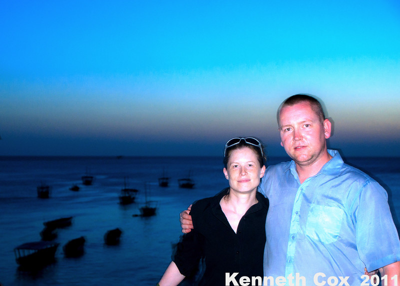 Jessica and Mike and the boats of Zanzibar, in Stone Town.