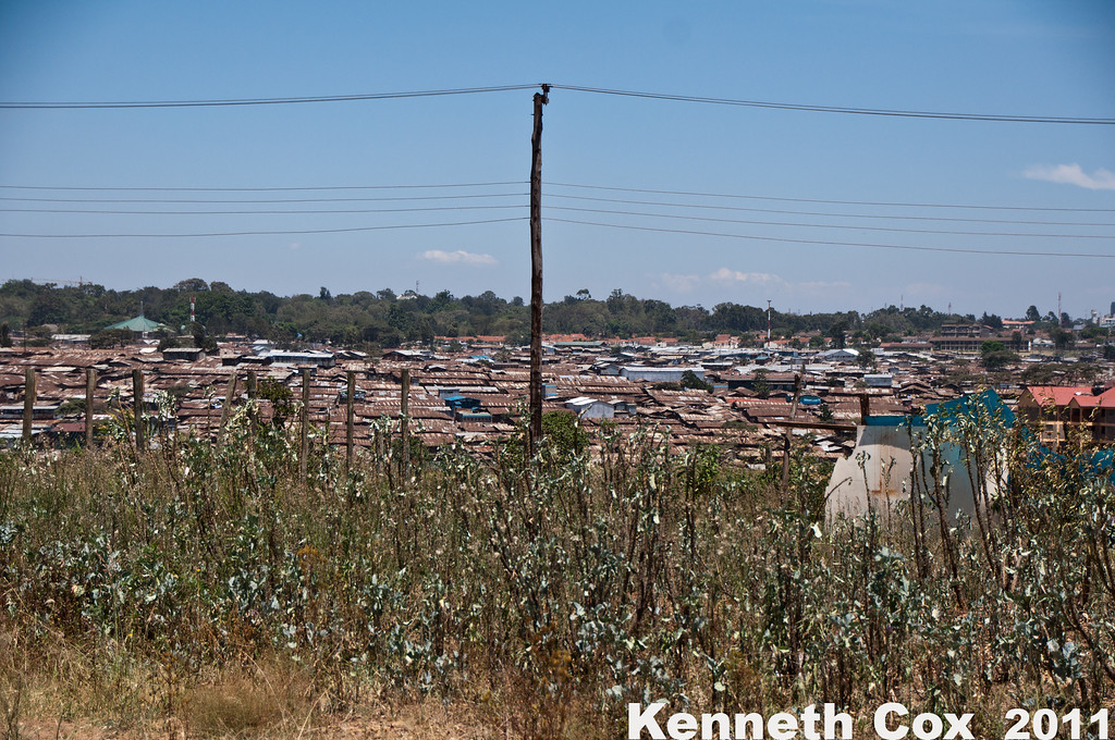 Kibera, the second largest slum in Africa. Estimates of the population range from 100,000 to one million, depending on whom you ask.