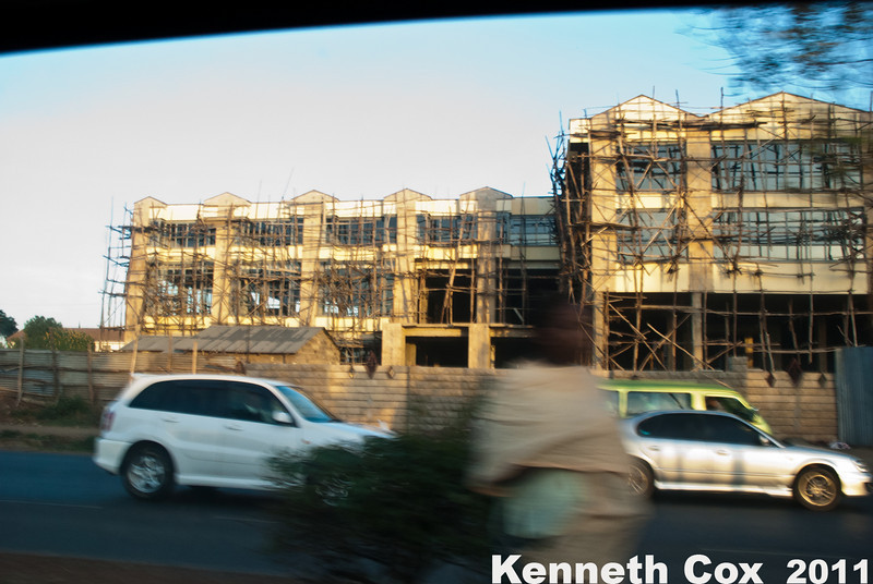 Typical scaffolding in Nairobi consists of tree branches lashed together.