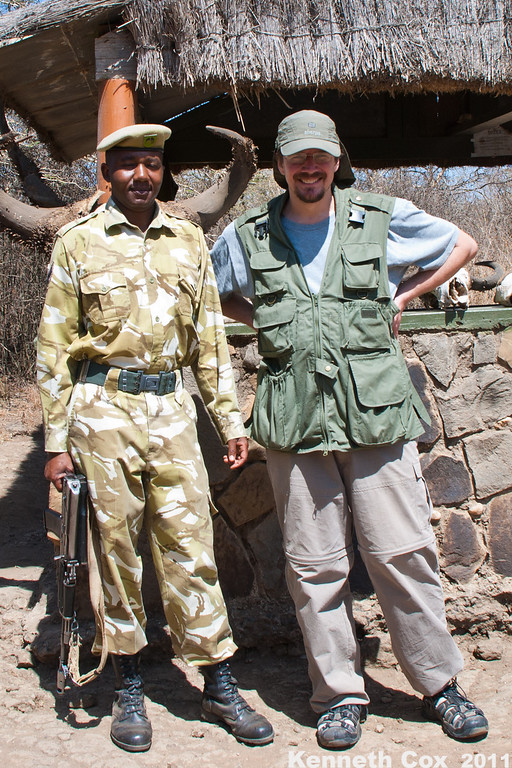 A Kenya Wildlife Service agent at Nairobi National Park, armed to protect people from the animals (especially buffalo), and protect the animals from poachers. They KWS also serve as the National Guard. He was a very nice young man, indeed.