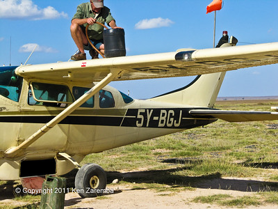 Prepping BGJ for the return flight to Ol Donyo Wuas from Kilimanjaro Royal Court airstrip, Amboseli National Park