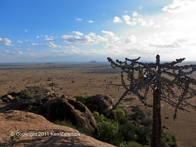 Views of the surrounding Chyulu Hills National Park from the top of the rock outcropping