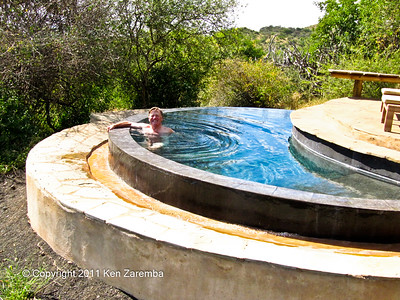 Extremely rare picture of Ken in a pool. Our private pool in our room at Ol Donyo Wuas Safari lodge