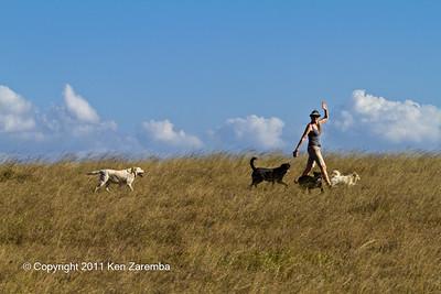 Tara Bonham out walking the dogs, Ol Donyo Wuas Safari Lodge, Chyulu Hills National park