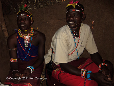 Our guide Lucas & driver Akai Inside a Samburu home in the Satima - Nalare village
