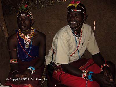 Our guide Lucas & driver Akai Inside a Samburu home in the Satima - Nalare village