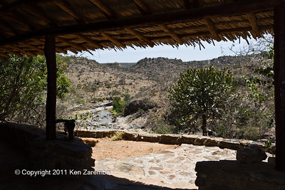 View down the Ewaso Nyiro river from in our room at Sabuk