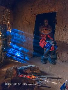 Inside a Samburu home in the Satima - Nalare village